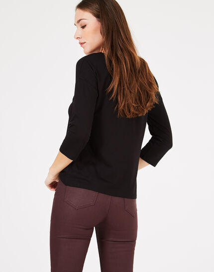 Tee-shirt noir à inscriptions Brise (3) - 1-2-3