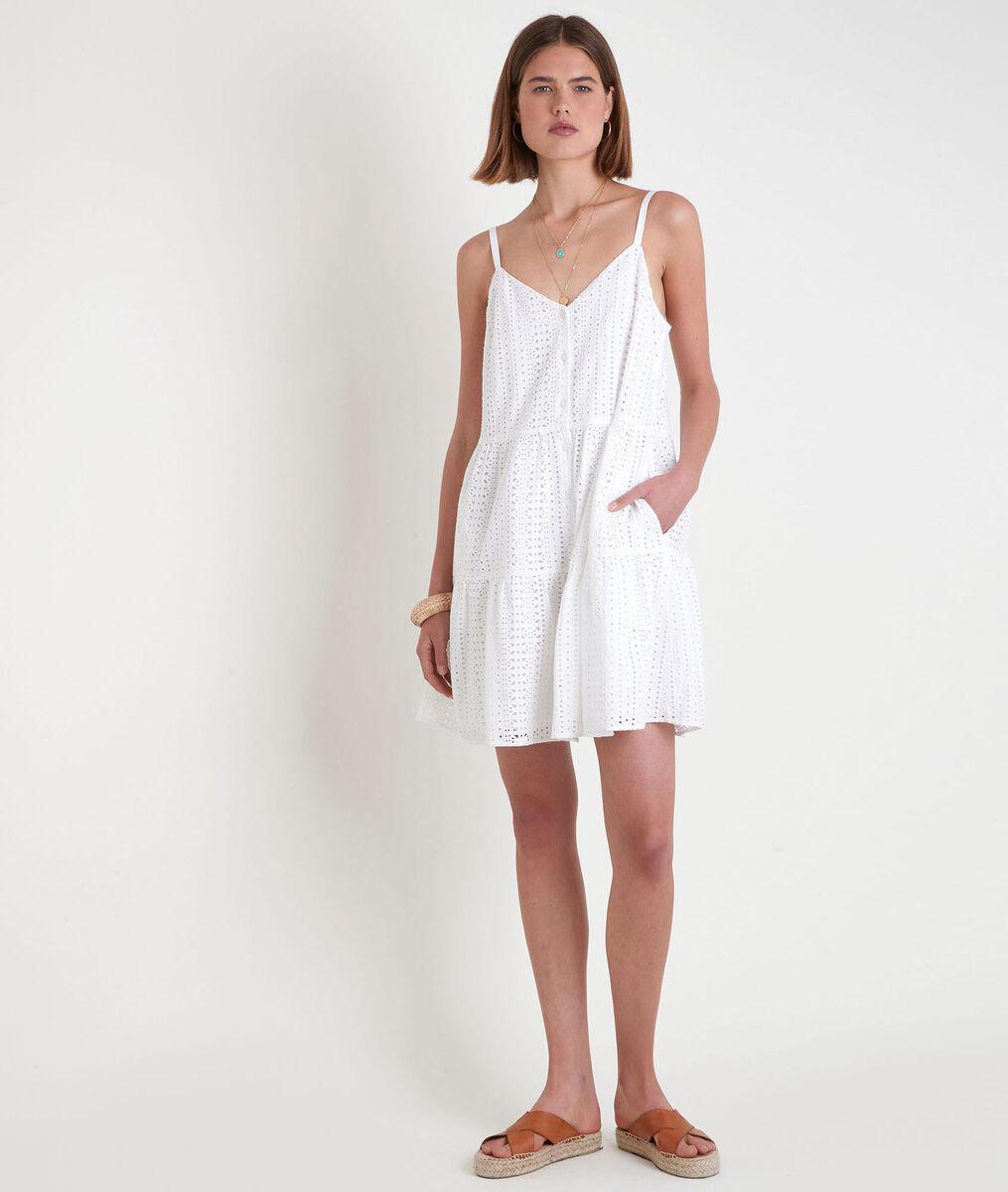 Robe mini à bretelles en broderie anglaise blanche Samia PhotoZ   1-2-3