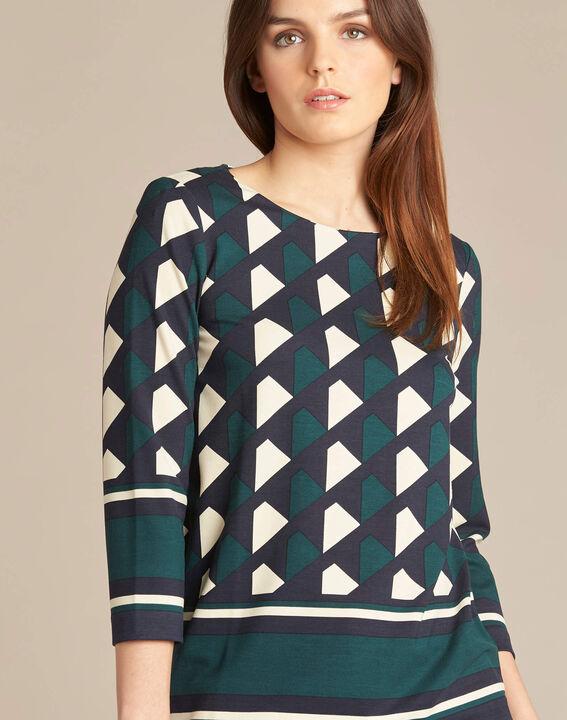 Bosgroene blouse met grafische print Evita PhotoZ | 1-2-3