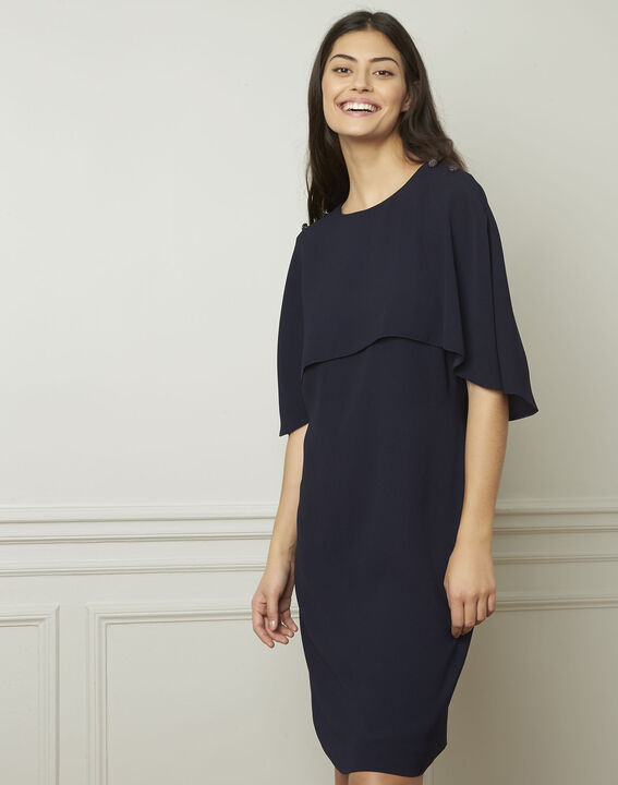 Marineblauwe jurk met cape Heidi (1) - Maison 123
