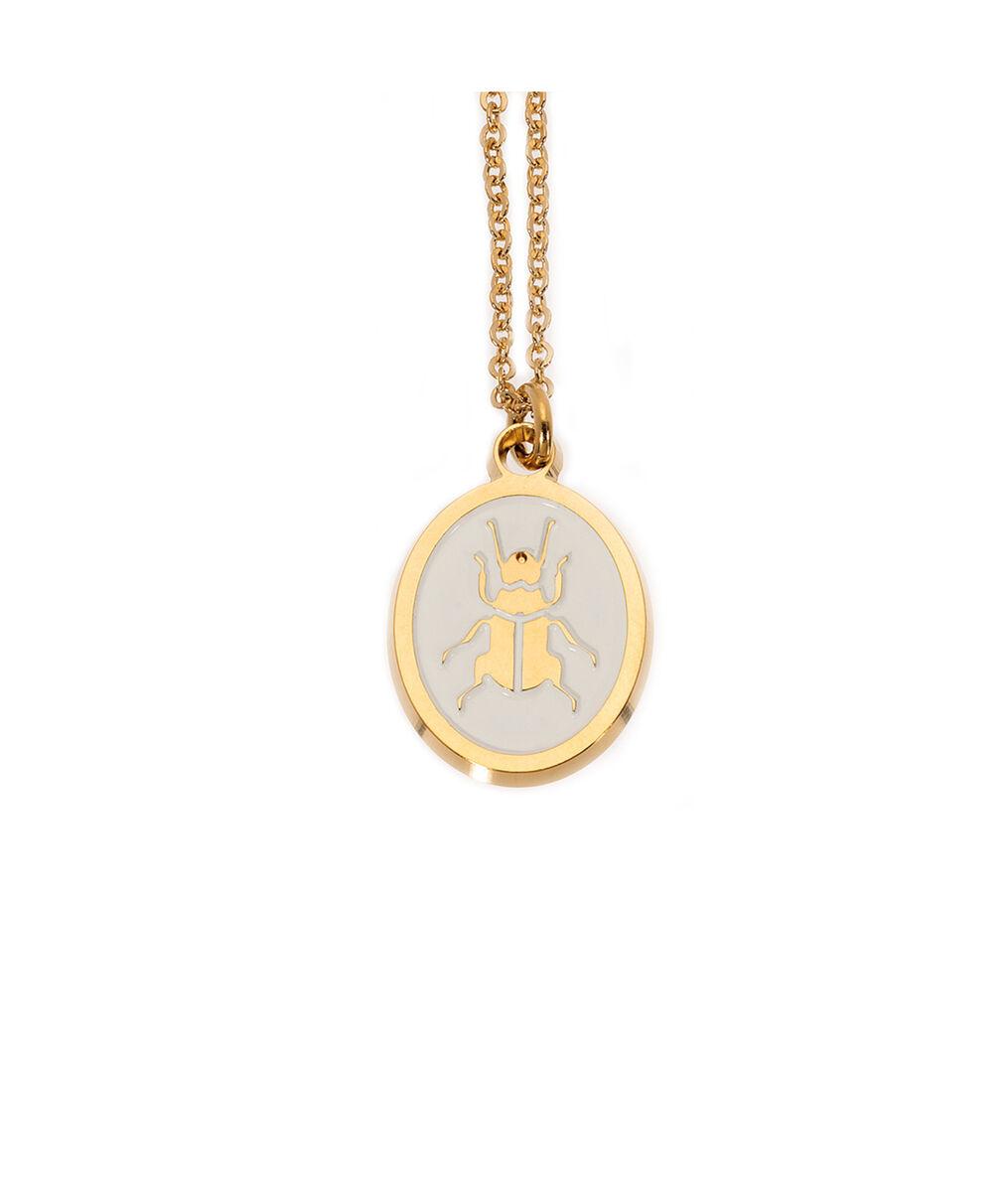 Collier médaille laqué scarabée ivoire or Bijoux Léone PhotoZ | 1-2-3