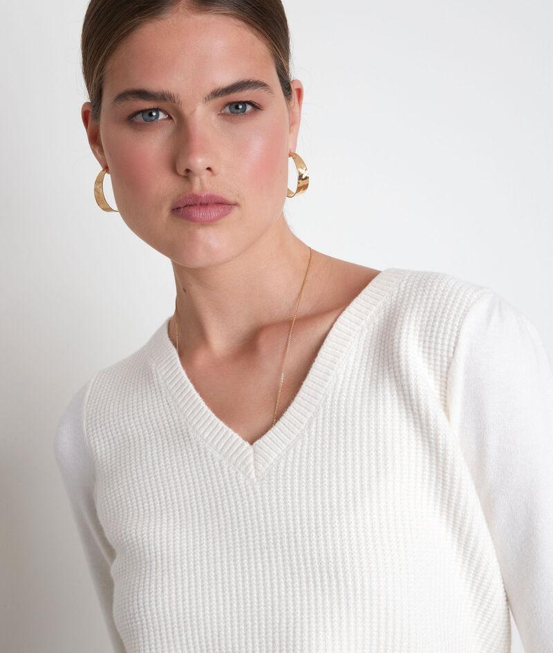 Ecru trui van dubbel tricot Théa PhotoZ | 1-2-3