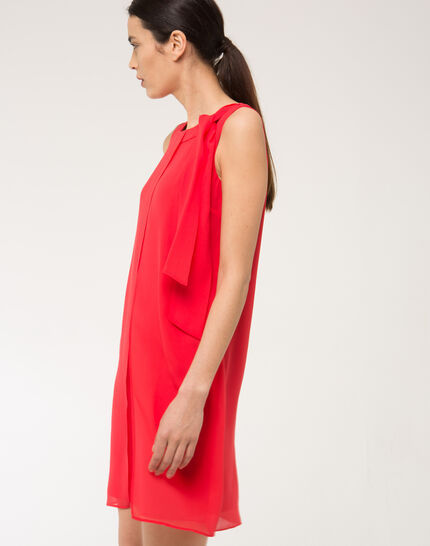 Fanny orange dress in silk with bow on the shoulder (3) - 1-2-3