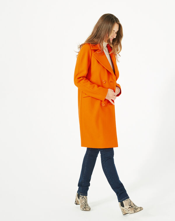 Manteau orange en laine justin à