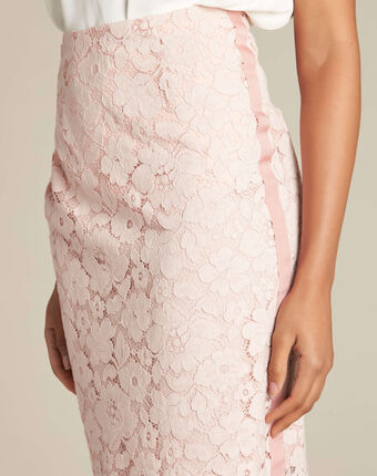 Lantana nude straight-cut skirt in lace salmon.