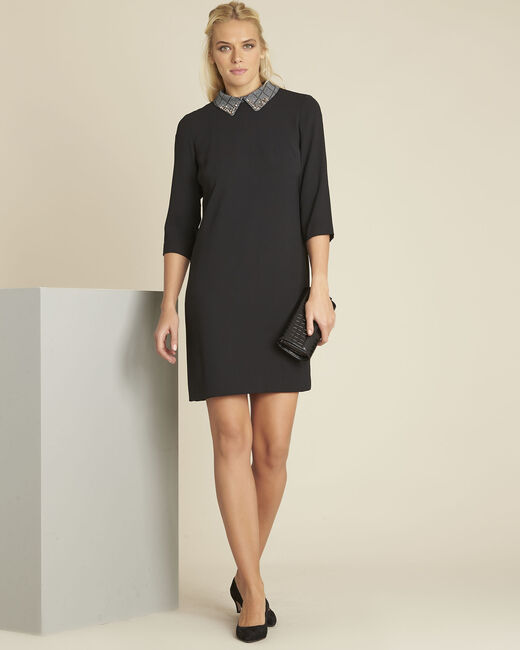 Demoiselle black dress with detachable collar (2) - 1-2-3