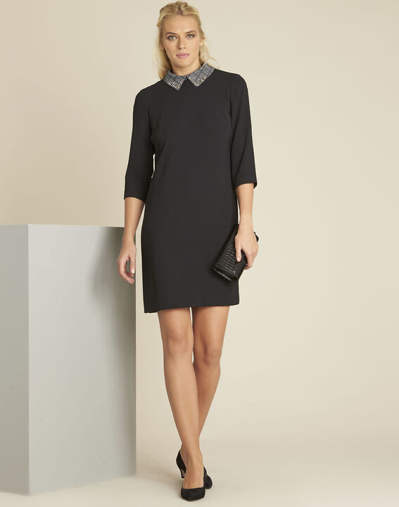 Demoiselle black dress with detachable collar (3) - 1-2-3