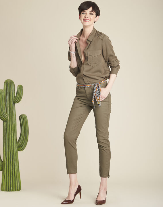 Groene slim fit 7/8-jeans met coating Opera (2) - Maison 123