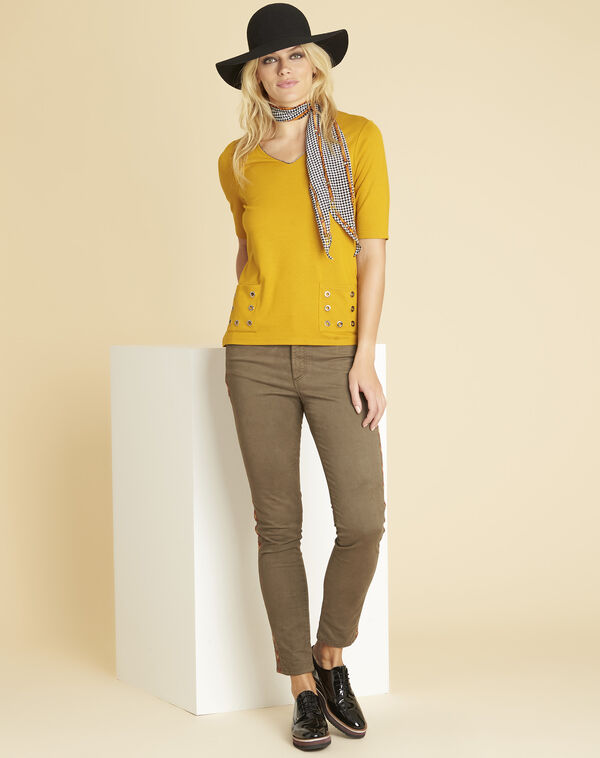 Goeland yellow T-shirt with eyelet detailing on the pockets (2) - 1-2-3