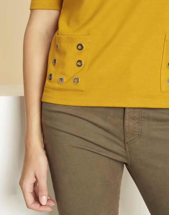 Goeland yellow T-shirt with eyelet detailing on the pockets (3) - 1-2-3