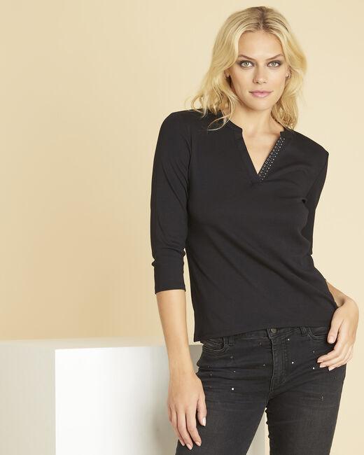 Zwart T-shirt met originele V-hals Episod (1) - 37653