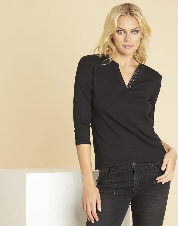 Episod black T-shirt with decorative V-neckline PhotoZ | 1-2-3