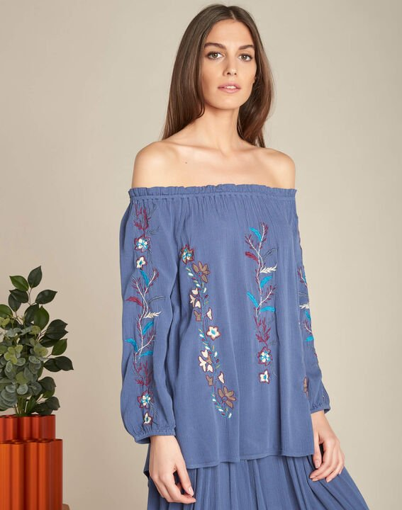 Genevieve blue embroidered blouse (3) - 1-2-3