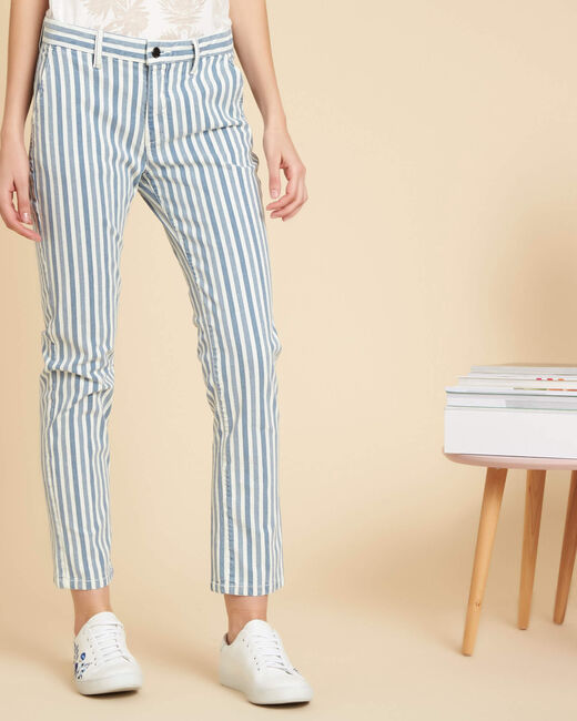 Valmy striped 7/8 length trousers in cotton (2) - 1-2-3