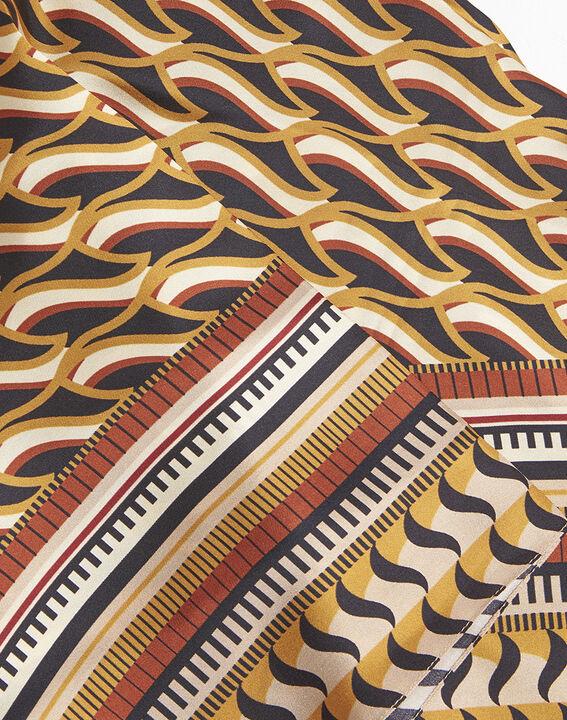 Carré de soie ocre imprimé ethnique Face (2) - 37653