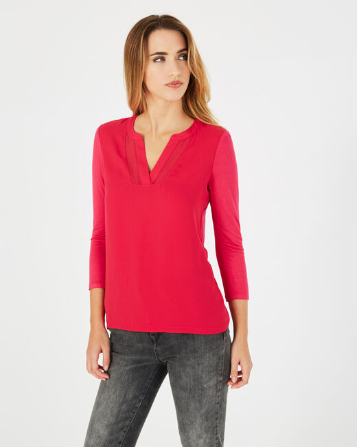Bianca fuchsia T-shirt with 3/4 length sleeves<br /> (2) - 1-2-3