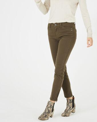 Pantalon 7/8ème kaki satin pia feuille.
