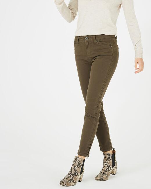 Pia khaki 7/8 length satin trousers (1) - 1-2-3