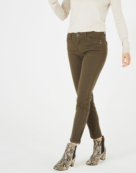 Pantalon 7/8ème kaki satin Pia (2) - 1-2-3