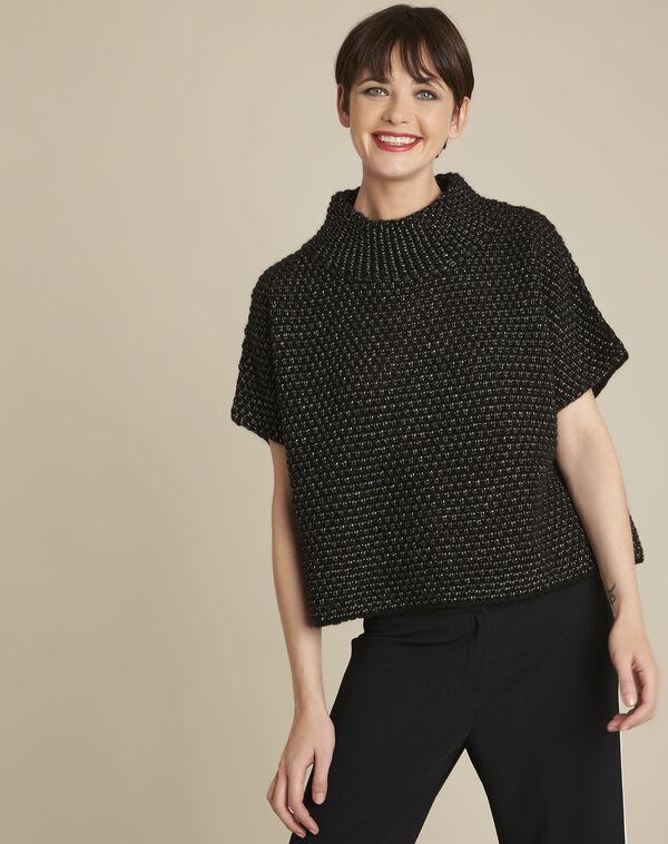 Zwarte trui met hoge kraag van gemengd wol Bami (1) - 37653