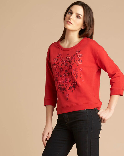 Eldorado red embroidered sweatshirt with 3/4 length sleeves (2) - 1-2-3