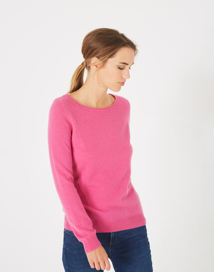 Petunia fuchsia cashmere sweater with round neck (3) - 1-2-3