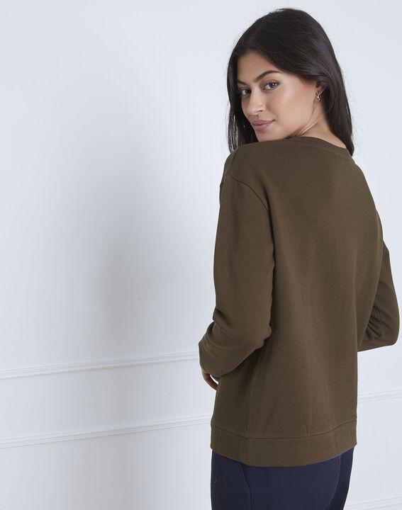 Khakifarbenes Sweatshirt mit Stickmuster Polly (4) - Maison 123