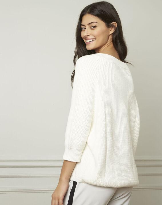 Ankara cream cotton and wool blend V-neck pullover (3) - 1-2-3