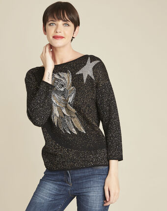 Bibou black rhinestone pullover with owl motif black.