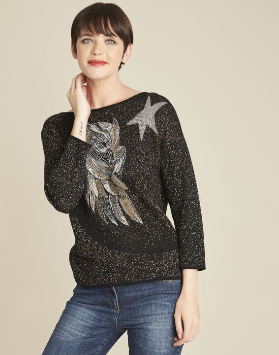 Bibou black rhinestone pullover with owl motif PhotoZ | 1-2-3