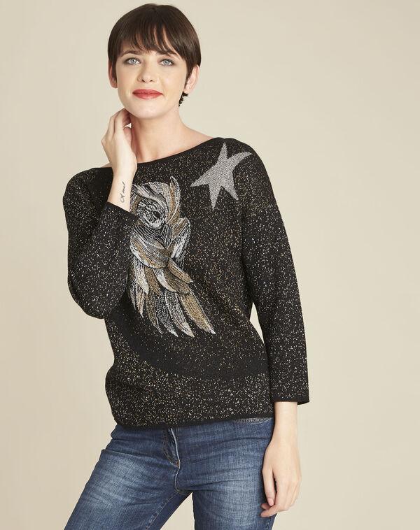 Zwarte trui met egelmotief met strassteentjes Bibou (1) - 37653