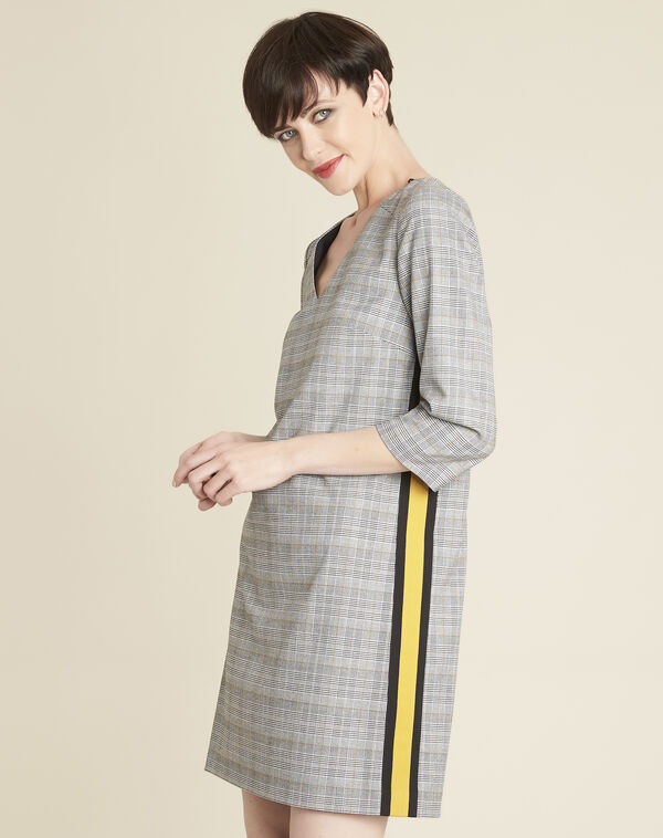 Dame grey printed dress with Prince of Wales design (2) - 1-2-3