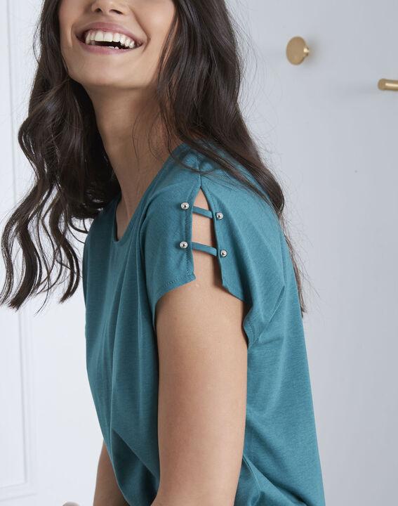 Tee-shirt vert détails épaules Palmbeach (3) - Maison 123