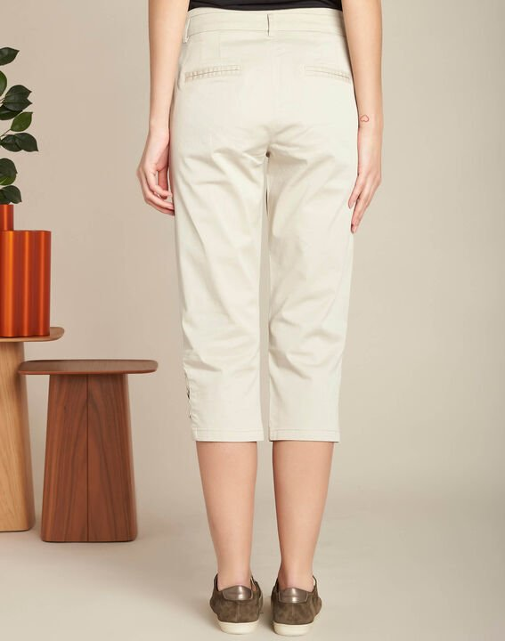 Jamy ecru cotton cropped trousers with lacing (4) - 1-2-3