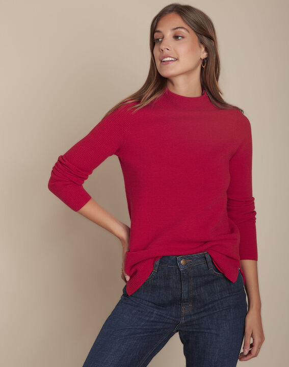 Pull rouge ottoman col montant Flower PhotoZ | 1-2-3