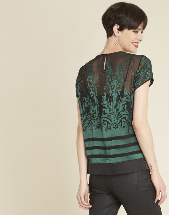 Cindy dark green blouse with openwork detailing (4) - 1-2-3