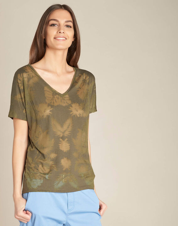Tee-shirt kaki imprimé palmier Eflore (3) - 1-2-3