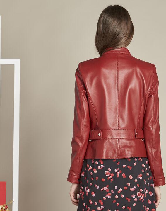 Veste rouge courte en cuir Tibo (4) - 1-2-3