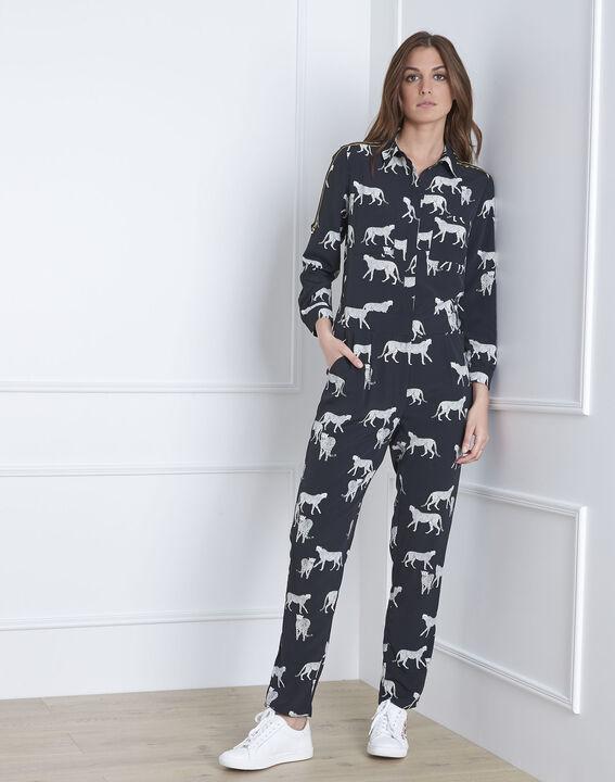 Schwarzer Jumpsuit mit Gepard-Motiven Latoya (1) - Maison 123
