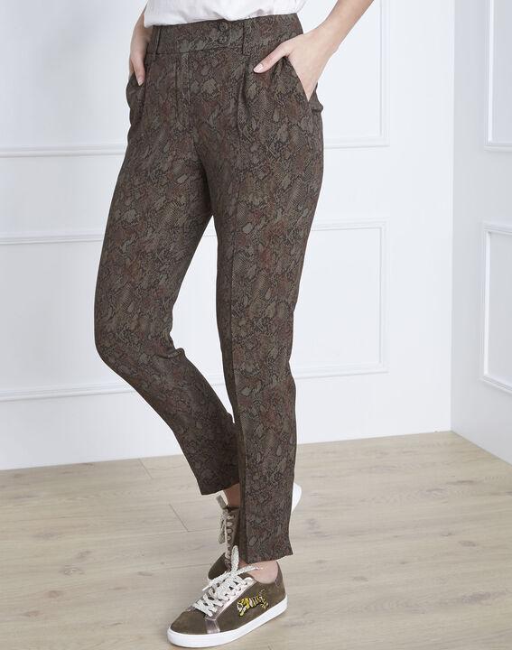 Pantalon kaki cigarette imprimé python Gerende (1) - Maison 123