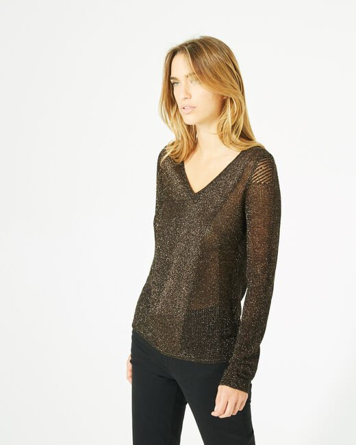 Pégase orange glittery sweater with rounded neckline (2) - 1-2-3