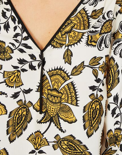 Douna yellow printed blouse with V-neck (3) - 1-2-3