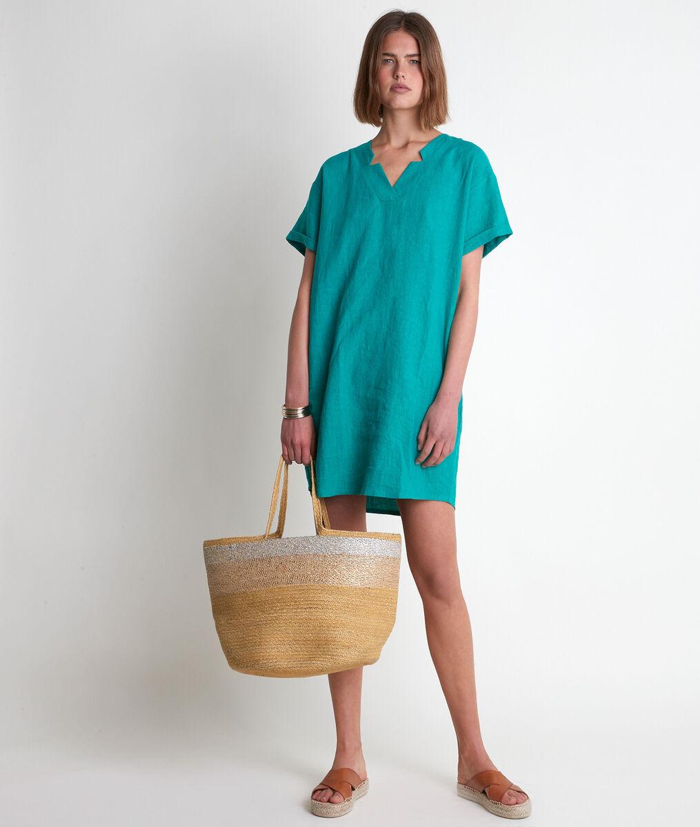 Robe en lin certifié verte Lauria PhotoZ | 1-2-3