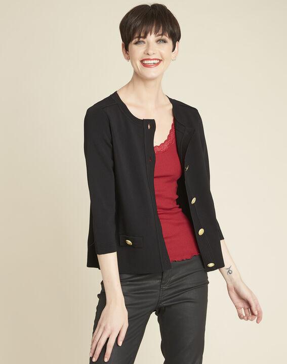 Bonny black knit cardigan with golden buttons (1) - Maison 123