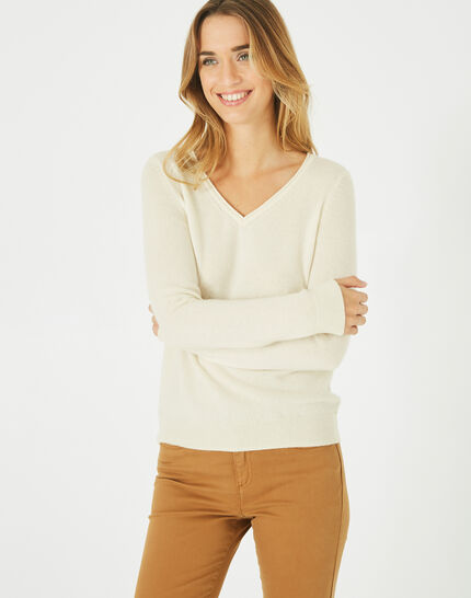 Pivoine ecru V-neck sweater in cashmere PhotoZ | 1-2-3
