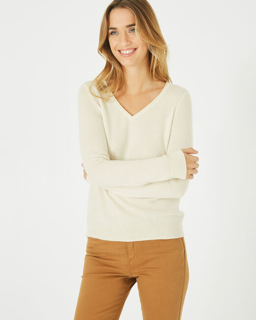 Pivoine ecru V-neck sweater in cashmere (1) - 1-2-3
