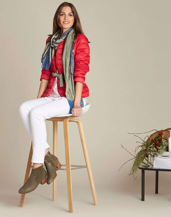 Yvana fine red quilted jacket red.