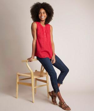 L'iconique slim: jean à lacets brut Agathe