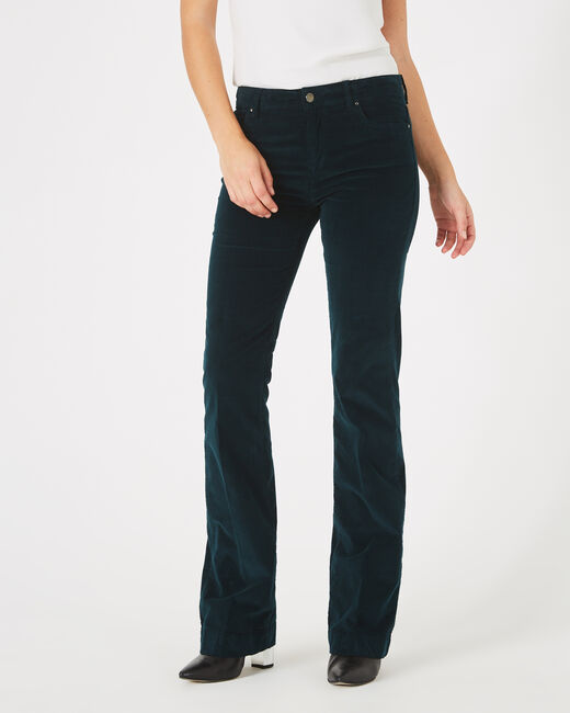 Jack wide-cut forest green jeans in velour (1) - 1-2-3