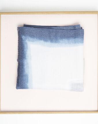Foulard bleu azur franges flashback bleu ciel.